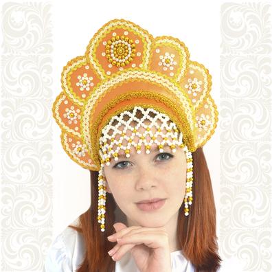 Кокошник Москвичка, оранжевый с золотом- фото 1