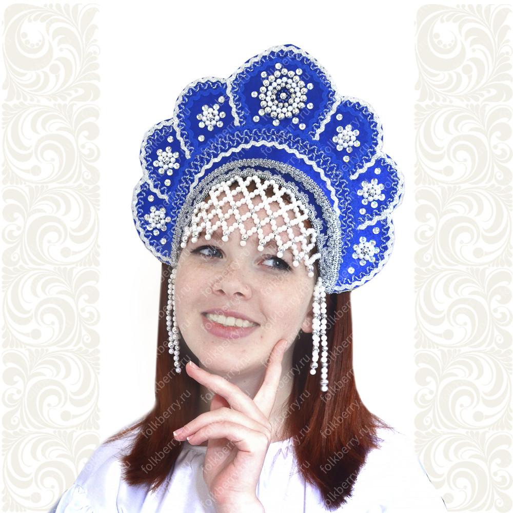 Кокошник Москвичка, синий с серебром- фото 1