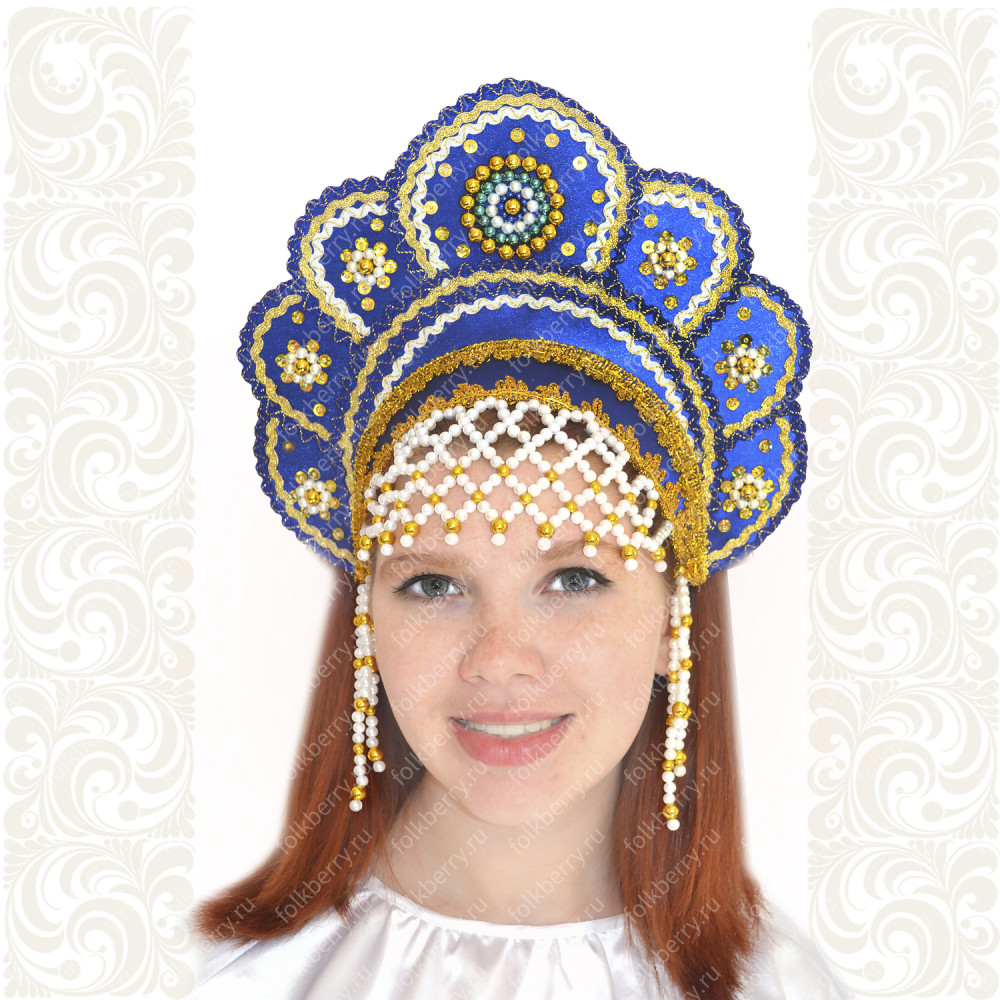 Кокошник Москвичка, синий с золотом- фото 1