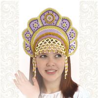 Кокошник Москвичка, светло-фиолетовый с золотом
