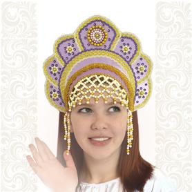 Кокошник Москвичка, светло-фиолетовый с золотом- фото 1