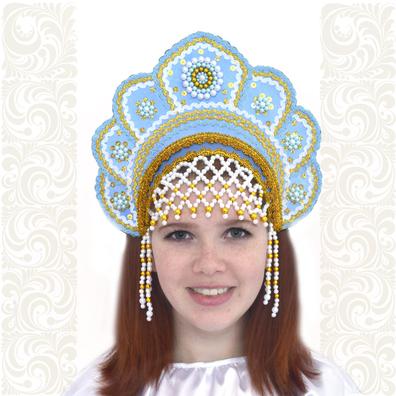 Кокошник Москвичка, светло-голубой с золотом- фото 1