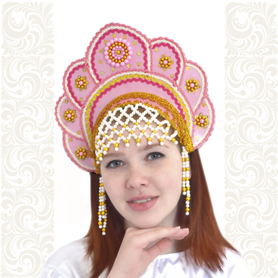 Кокошник Москвичка, светло-розовый с золотом- фото 1