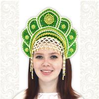 Кокошник Москвичка, зеленый с золотом