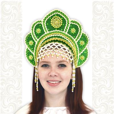 Кокошник Москвичка, зеленый с золотом- фото 1
