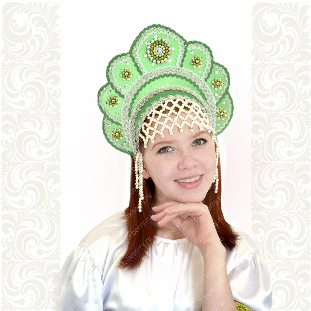 Кокошник Москвичка, зелёный с серебром- фото 1