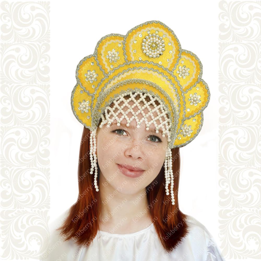 Кокошник Москвичка, желтый с серебром- фото 1