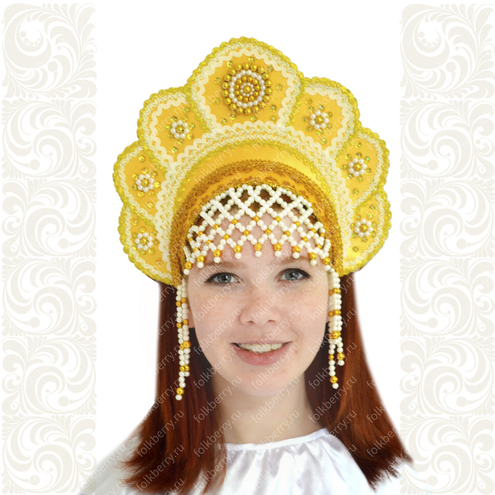 Кокошник Москвичка, желтый с золотом- фото 1