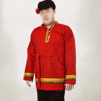 Косоворотка Добрыня, лен, красный- фото 1