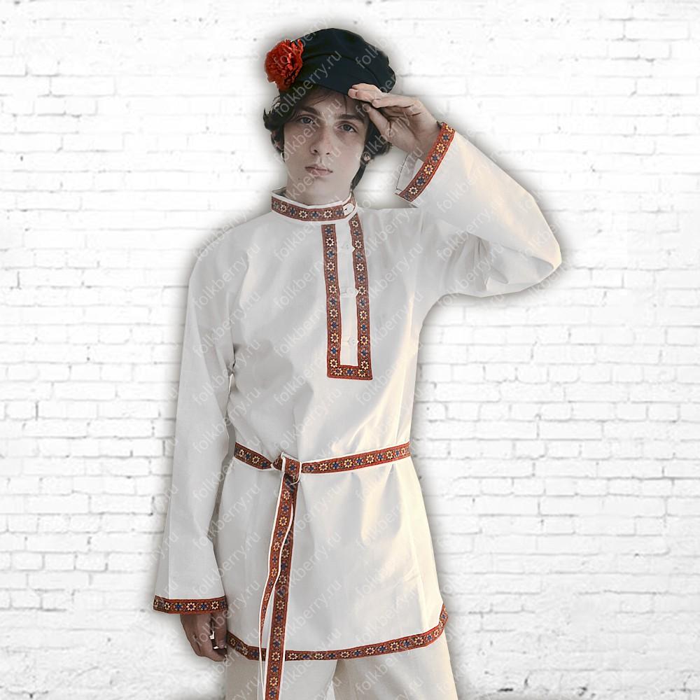Косоворотка Илья, хлопок, белый- фото 1