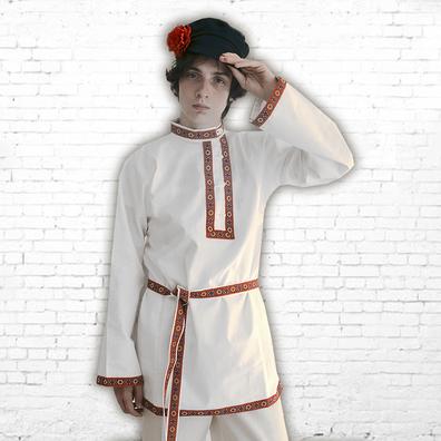 Косоворотка Народная, хлопок, белый- фото 1