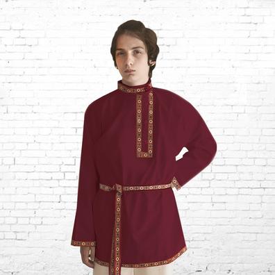Косоворотка Илья, хлопок, бордовый- фото 1