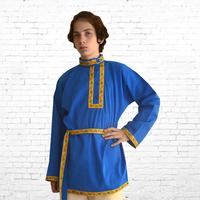 Косоворотка Илья, хлопок, мужская синий