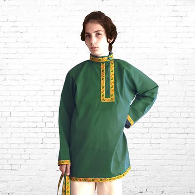 Косоворотка Илья, хлопок, зеленый- фото 1