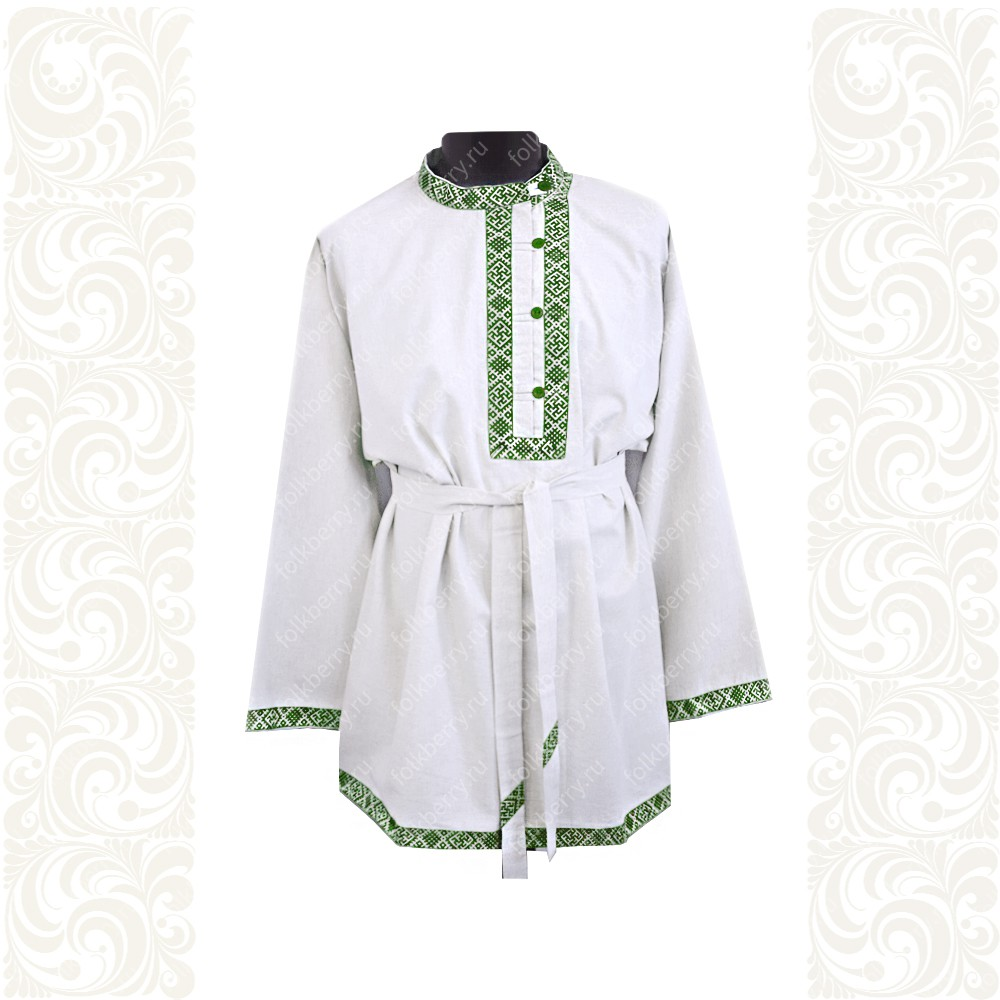 Косоворотка Оберег, лен белый с зеленым- фото 1