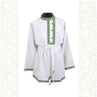 Косоворотка Оберег, лен белый с зеленым
