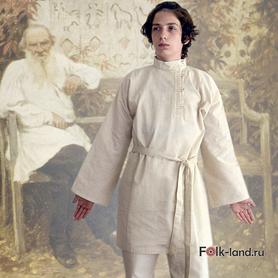 Косоворотка Лев Толстой, лен, небеленый лен- фото 1