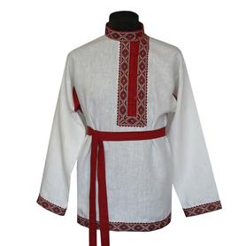 Косоворотка Православная, лен, белый- фото 1