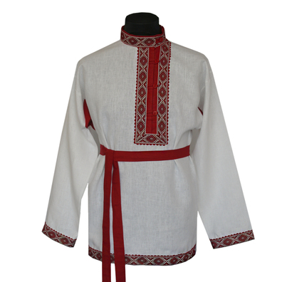Косоворотка Православная, лен, небеленый лен- фото 1