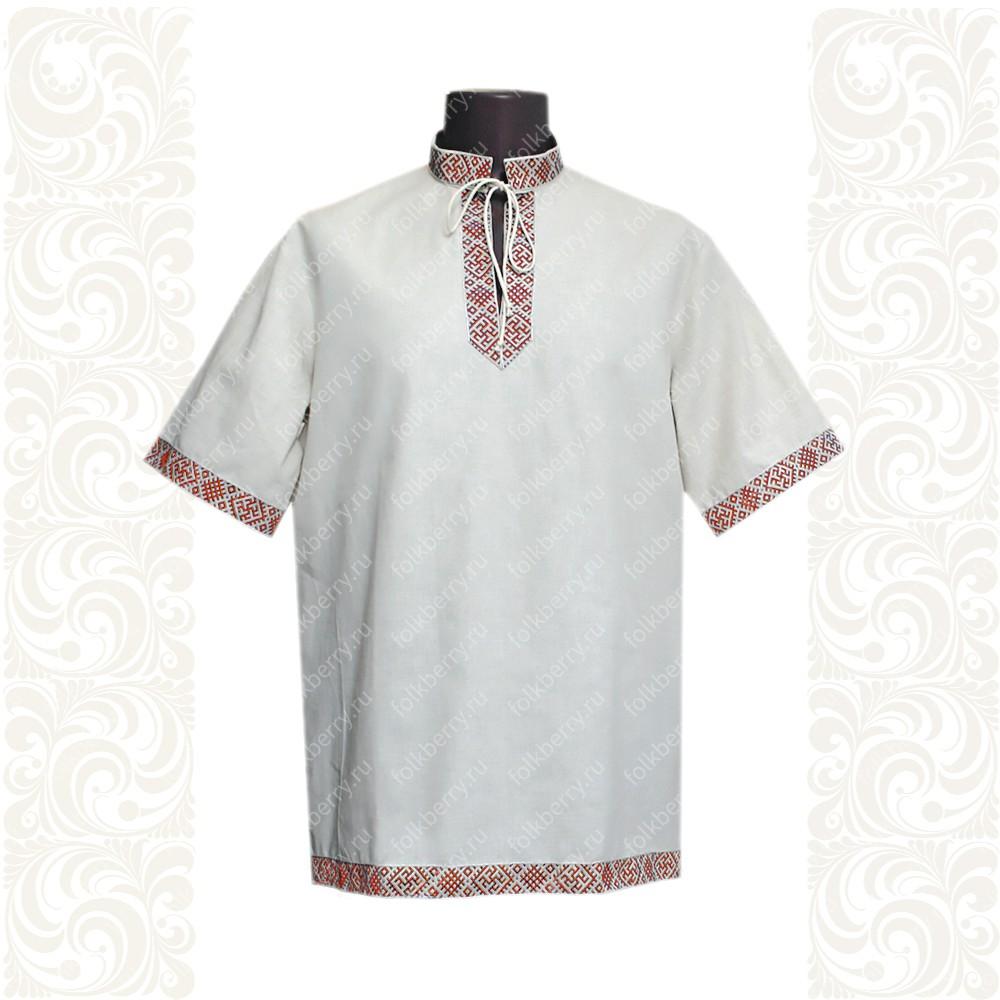 Рубашка Оберег, лен, небеленый лен с красным- фото 1