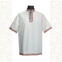 Рубашка Оберег, лен, небеленый лен с красным
