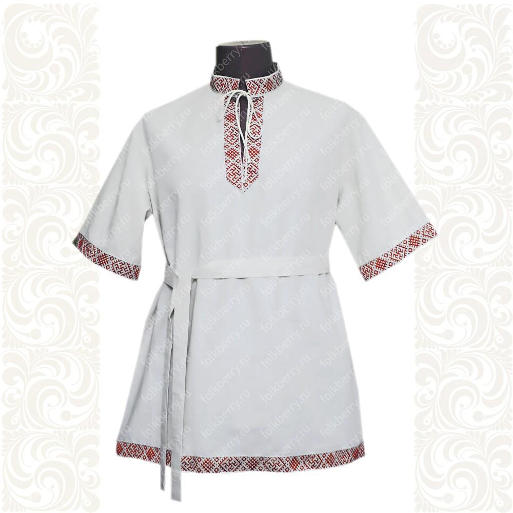 Рубашка Оберег, хлопок, белая с красным- фото 1