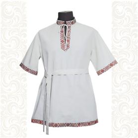Рубашка Истоки, хлопок, белая с красным- фото 1