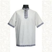 Рубашка Оберег, лен, мужская небеленый лен с синим