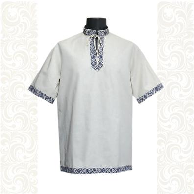 Рубашка Оберег, лен, небеленый лен с синим- фото 1