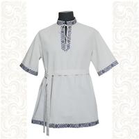 Рубашка Оберег, хлопок, белая с синим