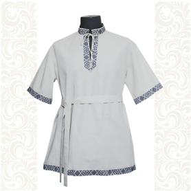 Рубашка Оберег, хлопок, белая с синим- фото 1