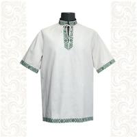 Рубашка Оберег, лен, небеленый лен с зеленым