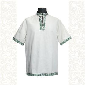 Рубашка Оберег, лен, небеленый лен с зеленым- фото 1