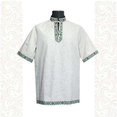 Рубашка Истоки, лен, небеленый лен с зеленым- фото 1