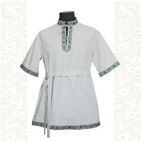 Рубашка Оберег, хлопок, белая с зеленым- фото 1