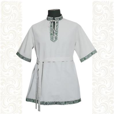 Рубашка Истоки, хлопок, белая с зеленым- фото 1