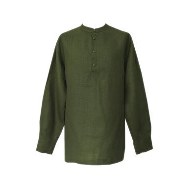 Рубаха Русский Стандарт, лен, темно-зеленый- фото 1