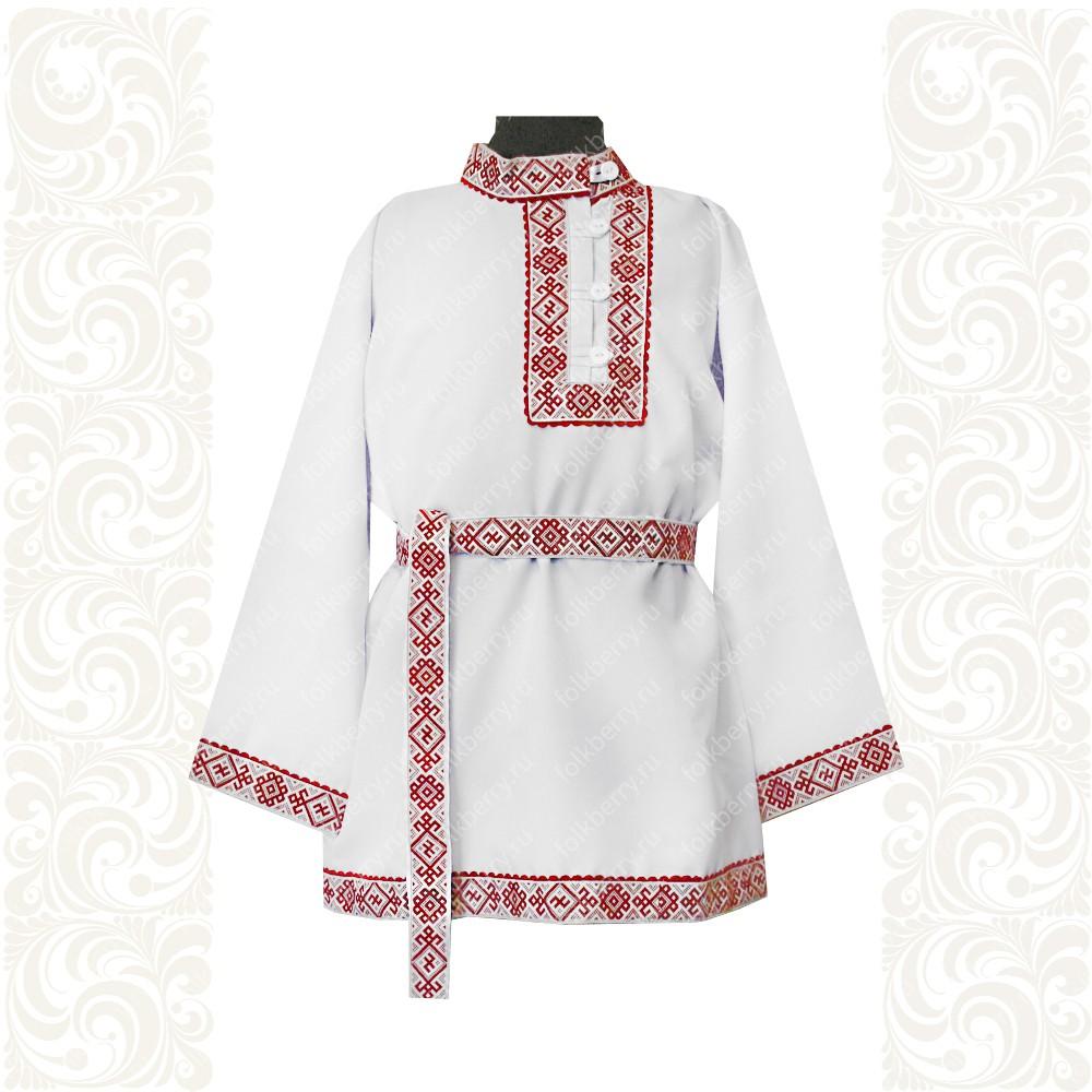 Косоворотка Славянский Оберег, белый хлопок (габардин) с красным- фото 1