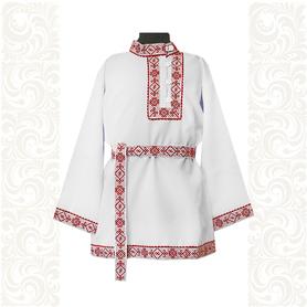 Косоворотка Русич, белый хлопок (габардин) с красным