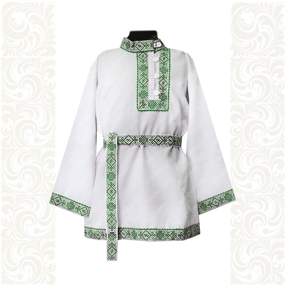 Косоворотка Славянский Оберег, белый хлопок (габардин) с зеленым- фото 1