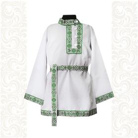 Косоворотка Славянский Оберег, белый хлопок (габардин) с зеленым