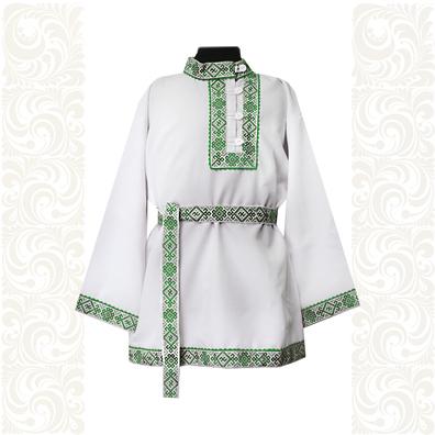 Косоворотка Русич, белый хлопок (габардин) с зеленым- фото 1