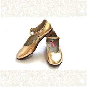 Туфли женские для народно-характерного танца, золотые- фото 1
