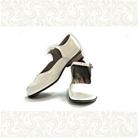Туфли детские для народно-характерного танца, белые- фото 1