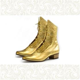 Полусапожки женские для народно-характерного танца, золотые- фото 1