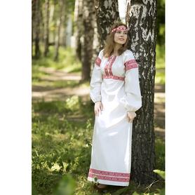 Платье Берегиня, лен, белое- фото 1