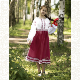 Платье Дмитра, габардин, бордовое- фото 1