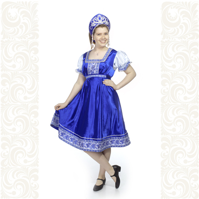 Платье Галина, атлас-стрейч, синее- фото 1