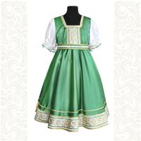 Платье Галина, атлас-стрейч, зеленое