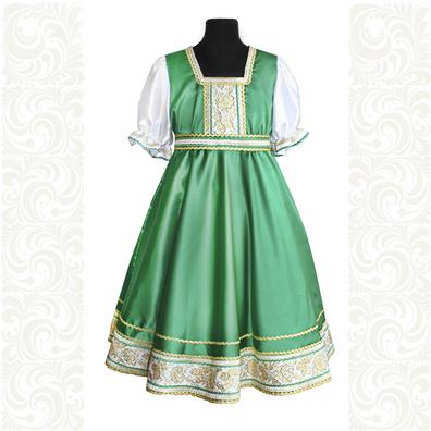 Платье Галина, атлас-стрейч, зеленое- фото 1